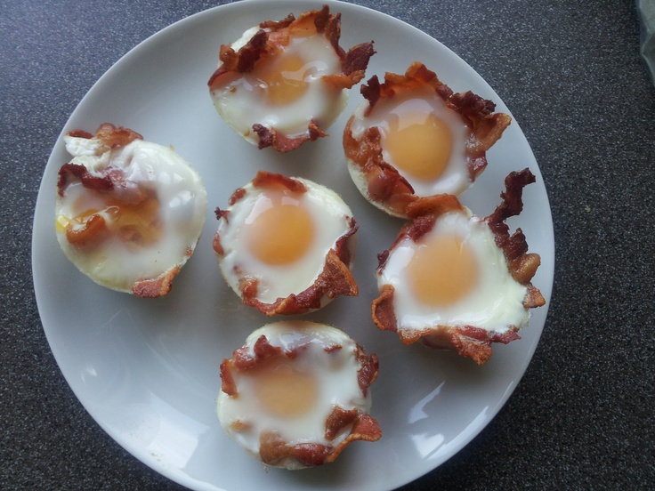 Homemade bacon and eggs muffins.