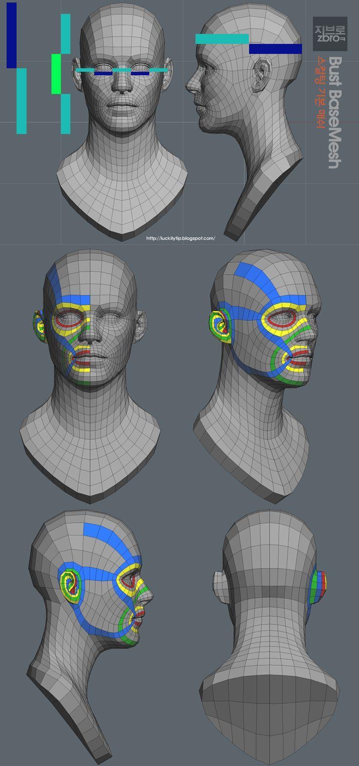 Hey i'm sharing this mesh. zbro bust base mesh_2 (ztl /obj) #BaseMesh #zbrush #wireframe