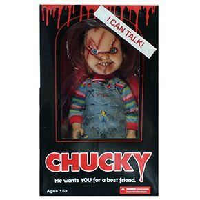 "Mega-scale Chucky doll (Figure) killer ""Chucky"" in the immobility of fear 15-inch-horror cinema Bride of Chucky Play with Sound. Parallel import goods. Size: about case (box): Vertical 41.7cm horizontal 25.5cm depth 13.8cm Doll: total length about 38cm. Material: Body: PVC costume: cloth. Only boxed: knife accessories. Manufacturer / MEZCO."
