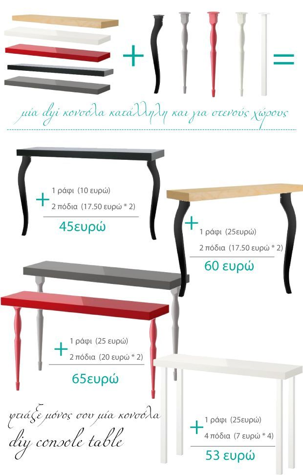 Consola para espacios estrechos con una balda lack y patas de escritorio!diy console table from IKEA (shelf + desk legs)