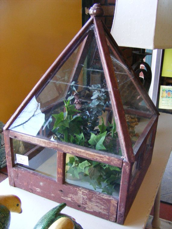 Vintage Terrarium Green House Table Top Seed Starter Old