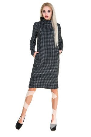 Демисезонное свободное платье в черно-белую клетку с высоким горлом и карманами
