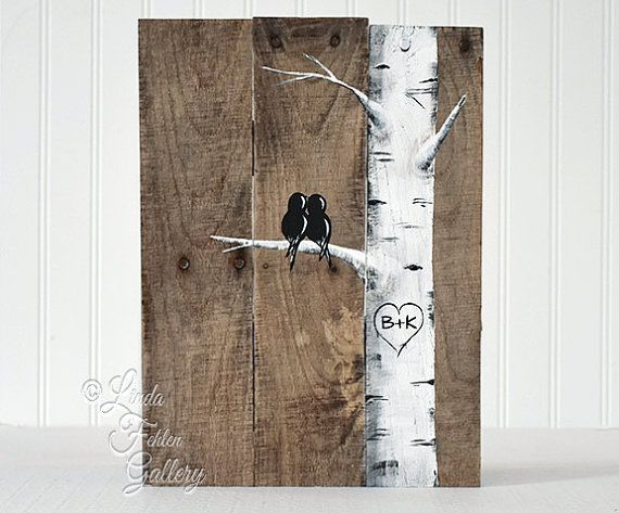 Birch Tree Sign Wood Signs would be cute as an invitation or save the date!  Reclaimed Wood Art Love Bird Sign Aspen Tree Painting Wood 5th Anniversary Gift Custom Wedding Gift for Couple Aspen Tree / Birch Tree Love Birds on Reclaimed Wood This simplistic, rustic painting of two birds resting in an aspen tree / birch tree together will add rustic character to any room and would make a sweet wedding or anniversary gift. Completely free hand painted for a truly one of a kind gift - no…