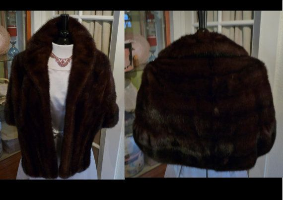 Vintage 1950s Mahogany Brown Fur Stole Shawl Cape Capelet Wrap Shrug Jacket Wedding Fur Excellent Condition by TheVaultVintage