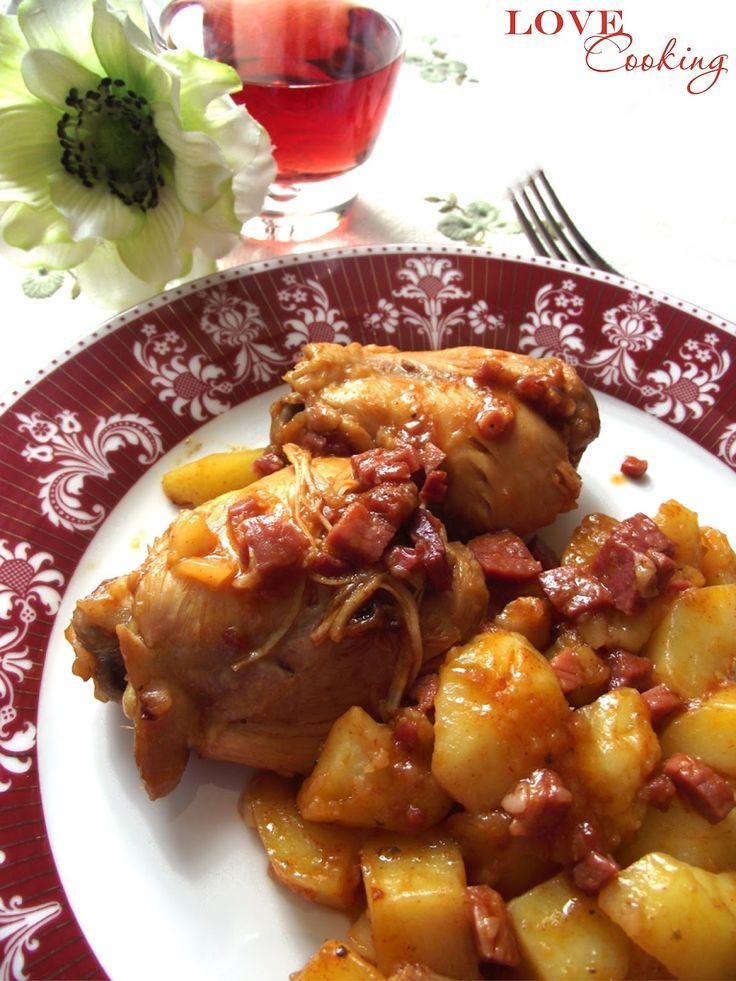 Pollo e patate allo speck e paprika (in pentola a pressione)