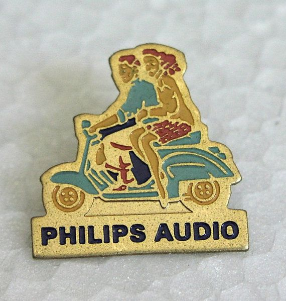 Vintage PHILIPS AUDIO pinback lapel badge sexy pinup on VESPA scooter Made in France circa 1980