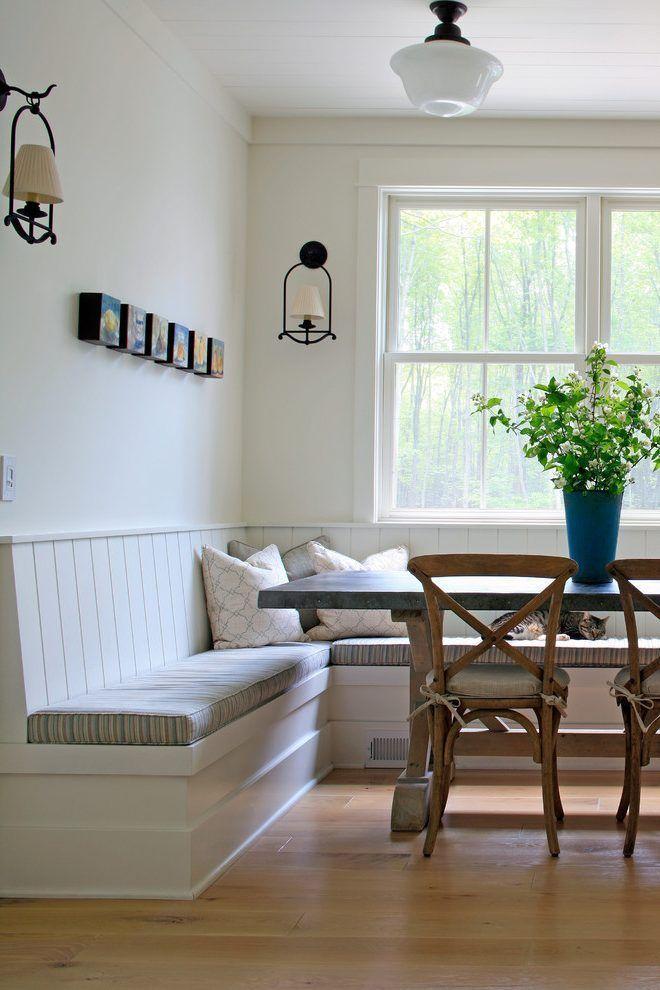 Modern Farmhouse Breakfast Nook Corner Banquette With Windows Modernfarmhouse Modernfarmhousedecor
