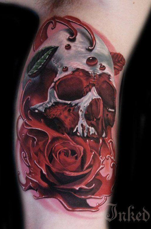 shoulder skull rose tattoo - 515×780