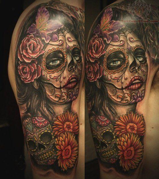 sugar skull woman half sleeve - Google Search