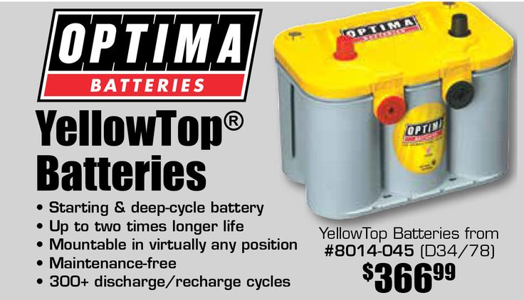 Add an Optima YellowTop Battery to your vehicle. Prices starting from $366.99 EA. Features:  • Starting & Deep-cycle battery  • Up to two times longer life  • Mountable in virtually any position  • Maintenance-free  • 300+ discharge/recharge cycles  https://aadiscountauto.ca/special/326/optima-yellowtop-batteries.html  #Optima #YellowTop #Battery #OptimaBattery #OptimaYellowTopBattery #AADiscountAuto #AAPerformance