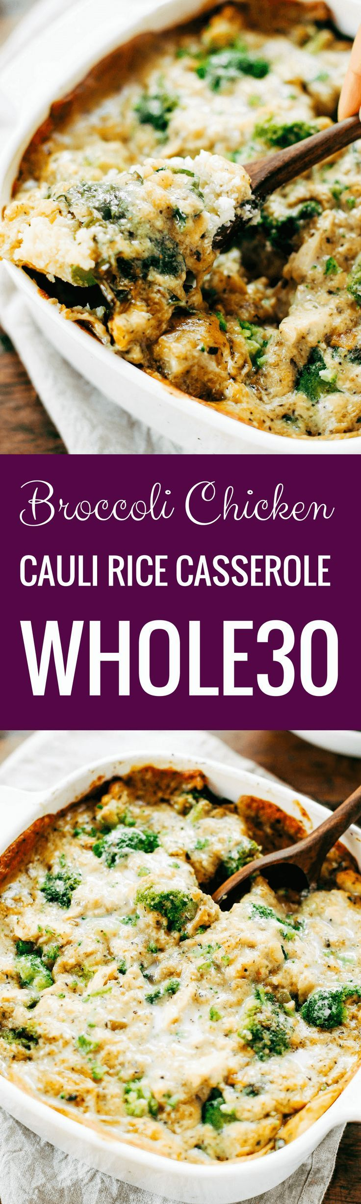Creamy whole30 chicken, broccoli, cauliflower rice casserole. Your family is going to love this warm and comforting casserole! Kid proof and stuffed with three veggies, topped with the best herb cream sauce. Extra creamy whole30 spaghetti squash casserole