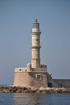 灯台, クレタ島, ポート, 地中海, 海の景色, 港の入り口, 船