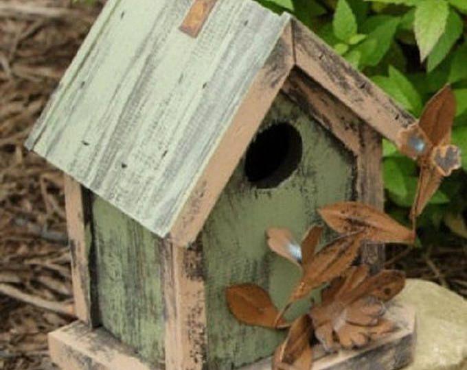 Upcycled Vintage Dish Bird Feeder Hanging Planter Basket Etsy Unique Bird Houses Birdhouses Rustic Bird House