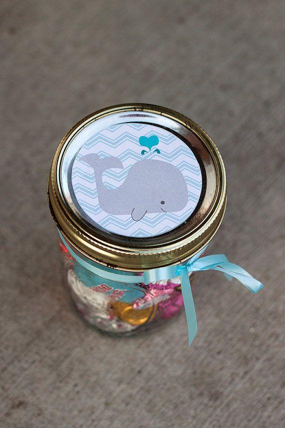 baby shower mason jar label pdf for boy chevron whale jar label
