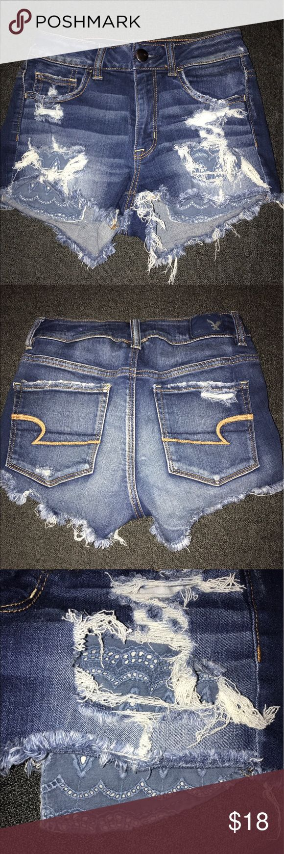 American Eagle Jean Shorts Dark wash American Eagle shorts with decorated pockets, worn twice. Super stretchy American Eagle Outfitters Shorts Jean Shorts