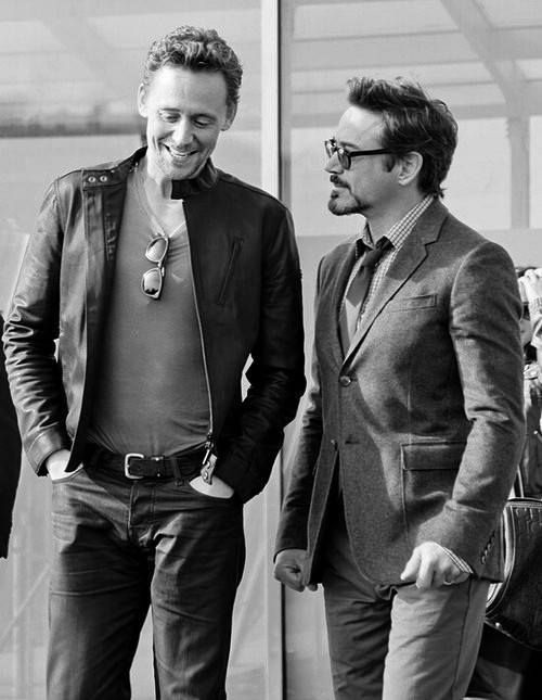 The fantastically brilliant Tom Hiddleston and the wonderfully talented Robert Downey Jr.