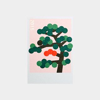 年賀状2015 幾何学,松の木