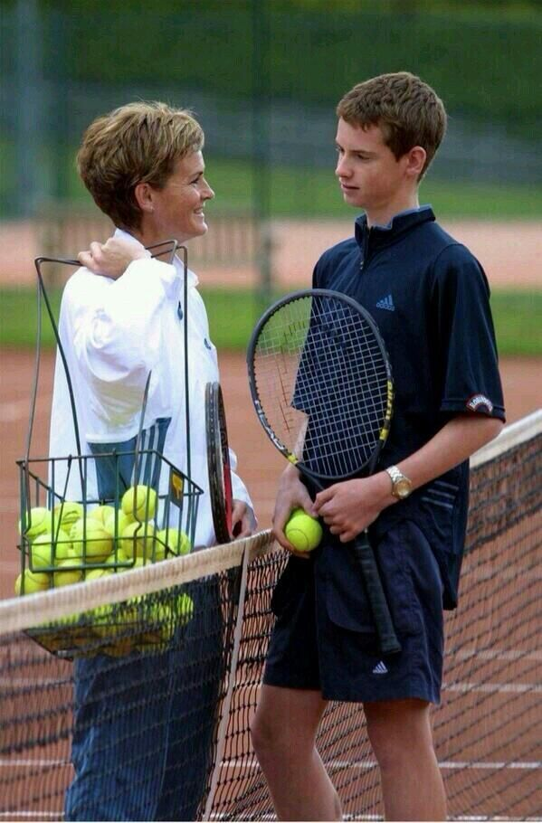Judy and Andy Murray get some practice time in. #tbt