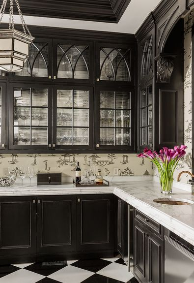 Stunning butler's pantry, black cabinetry, glass fronts, chinoiserie wallpaper - Terrat Elms Interior Design