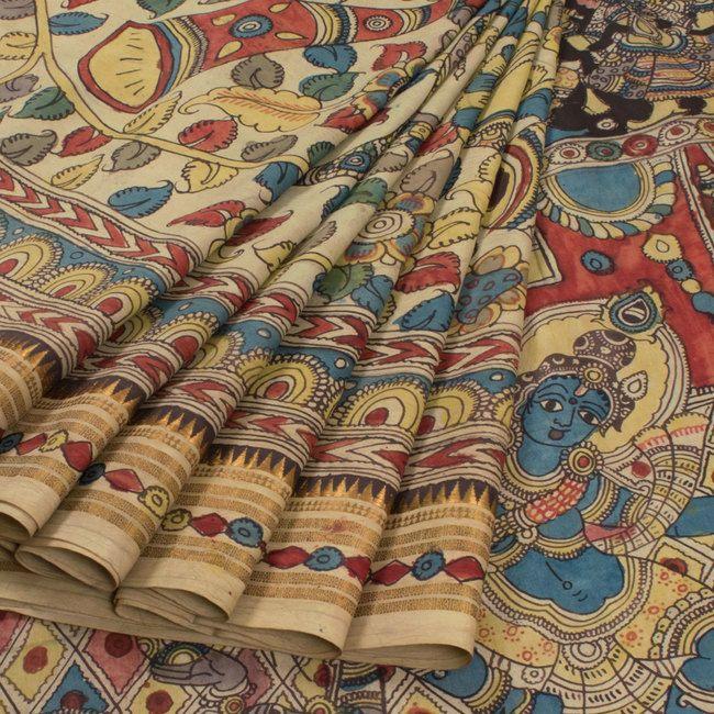 Hand Painted Half and Half Pen Kalamkari Silk Saree With Floral, Mirunthangam, Veena & pullanguzhal Design  10009329 - AVISHYA.COM
