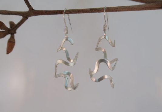 Silver Squiggle and Bend Earrings