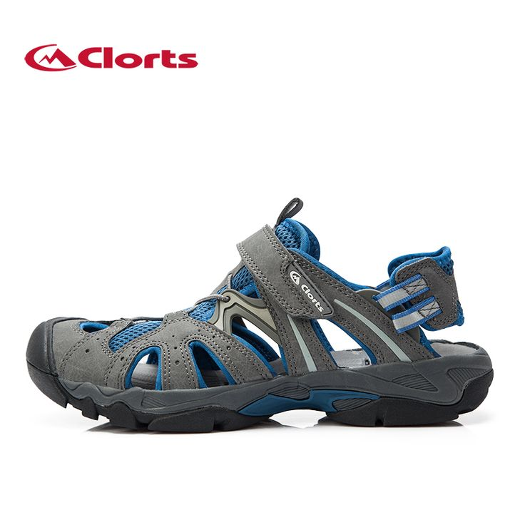 Clorts Breathable Beach Sandals Men Quick Dry Hiking Aqua Water Shoes For Men Walking Trekking Sandals PU Leather Wadding Shoes