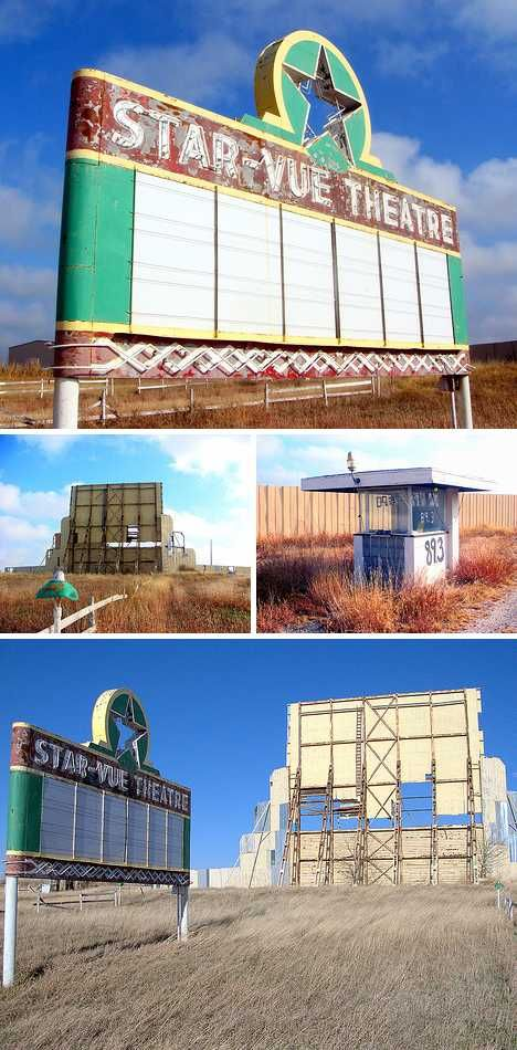 The Star-Vue Drive-in theater in Anthony, Kansas entertained countless car-driving patrons from its grand opening in far-off 1950 to the dark day of its closure in 2003. Was setting up a drive-in movie screen in the heart of Tornado Alley really such a great idea? (NO)