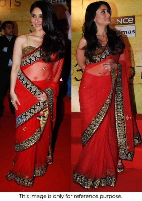 Bollywood Actress Kareena Kapoor Net Saree in Red color