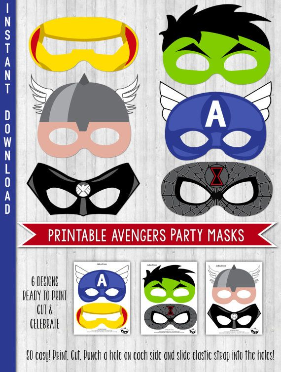 INSTANT DOWNLOAD Avengers Party Masks Avengers by LaBelleStudio