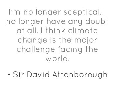 Wise words on climate change from Sir David Attenborough, famous narrator for Life, Blue Planet, and Living Earth among countless others.