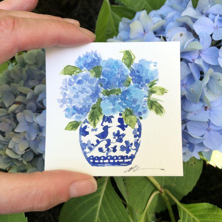 Mini watercolor hydrangea