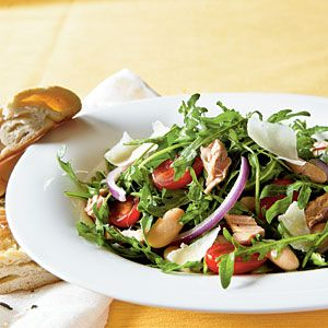 Arugula, Italian Tuna, and White Bean  - skip the parmesan if you're in the 1st three weeks!  Salad