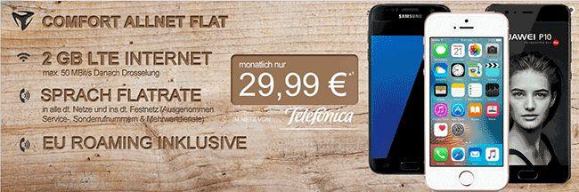 Handy Angebot mit der Telefonica Comfort Allnet mit Smartphone zum Vertrag von Samsung , Huawei oder LG ab 1,00 Euro , im Tarif Comfort Allnet habt Ihr eine 2 GB LTE Internet-Flatrate und eine Telefon Allnet Flat inklusive EU Roaming mit 29,99 Euro Grundgebühr/Monat im Netz von o2 Telefonica.   #HuaweiP10 #HuaweiP9 #LGG6 #Samsung #GalaxyS7 #GalaxyS7Edge
