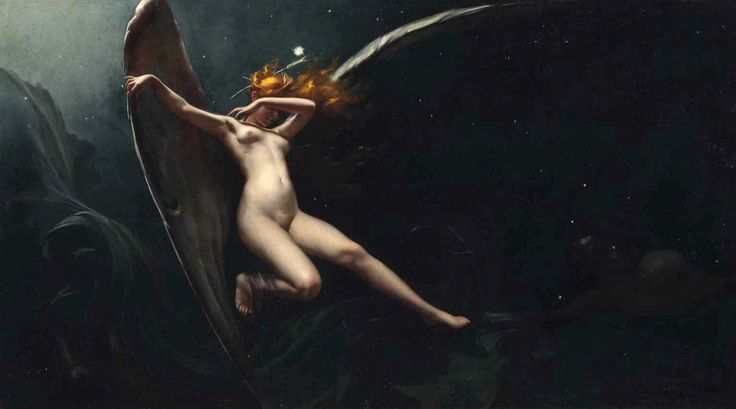 A Fairy under Starry Skies. Oil on Canvas. 59 x 103 cm.(23.22 x 40.55 in.)  Art by Luis Ricardo Falero.(1851-1896).