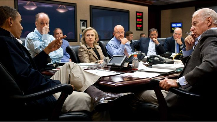In this photo provided by The White House, (L-R) President Barack Obama,National Security Advisor Tom Donilon, Secretary of State Hillary Clinton, Director of National Intelligence James Clapper, Leon Panetta, Director of the CIA, National Security Advisor Tom Donilon and Vice President Joe Biden attend a meeting in the Situation Room on May 1, 2012 in Washington, DC. President Barack Obama's national security team held a series of meeting to discusss Osama bin Lade