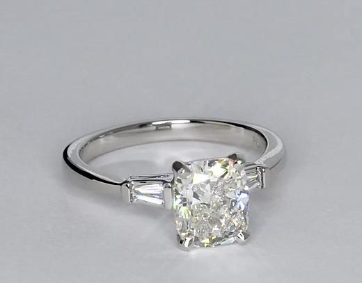 Tapered Baguette Diamond Engagement Ring in Platinum (1/6 ct. tw.)   Blue Nile
