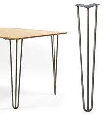 Tablelegs.com ~ metal hair pin legs in lots of sizes. Can also order wood tops in different depths and woods.