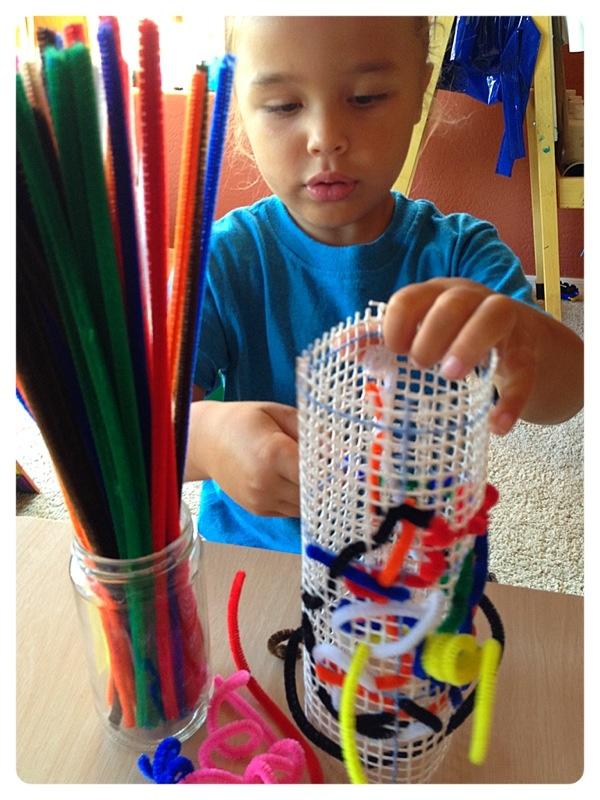 pipe cleaner & latch hook canvas sculptures