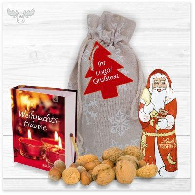Geschenke-Set zu Weihnachten. Zum Beispiel Weihnachts-Minibuch, Schokoladen-Weihnachtsmann, Nüsse im Jutesäckchen. Viele weitere Varianten zum Zusammenstellen