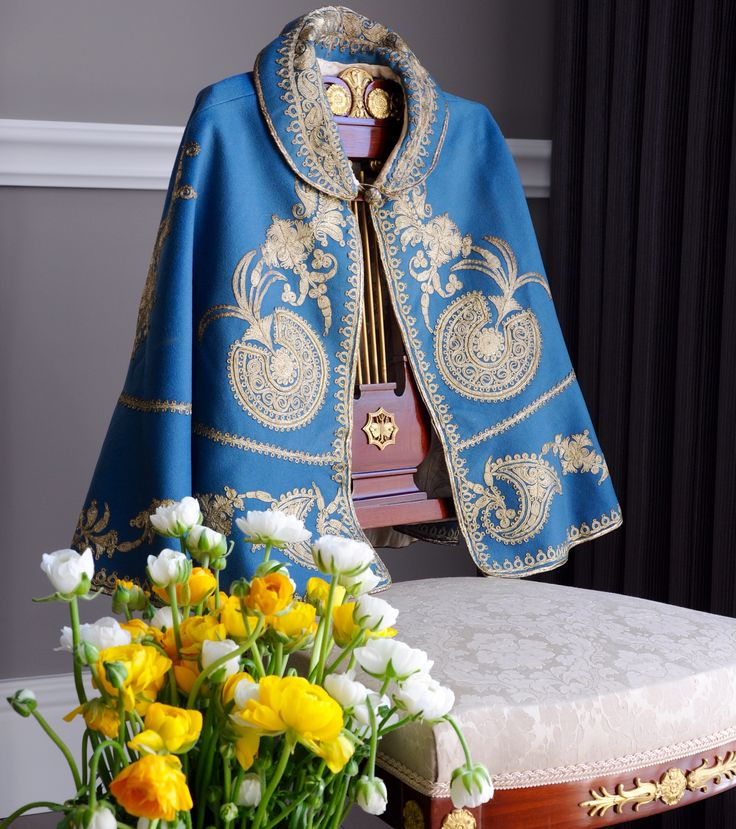 Gold thread embroidery blue cape from OZER antique textile - costume collection ,Turkey late 19th century   /   Antika tekstil - kostüm koleksiyonumuzdan altın sırma el işi mavi pelerin ,19 yy sonu. instagram @ozer_artantiques