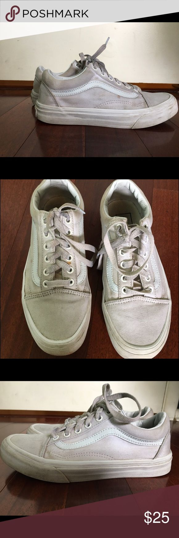 White sk8-low vans Very worn in. Size 7.5 women Vans Shoes Sneakers
