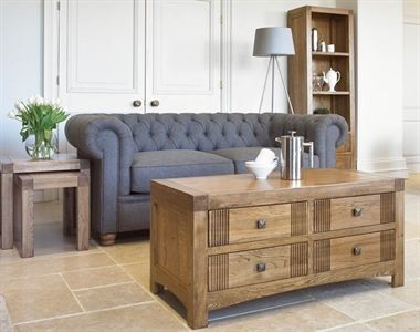Linford Occasional.  The range includes a coffee table, lamp table, nest of tables, media unit and bookcase.   Expertly crafted, each item is finished with square metal handles, wooden drawer runners, dovetailed drawer boxes and traditional butt hinges.