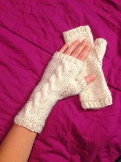 French Vanilla Cable Knit Mitts - free pattern!