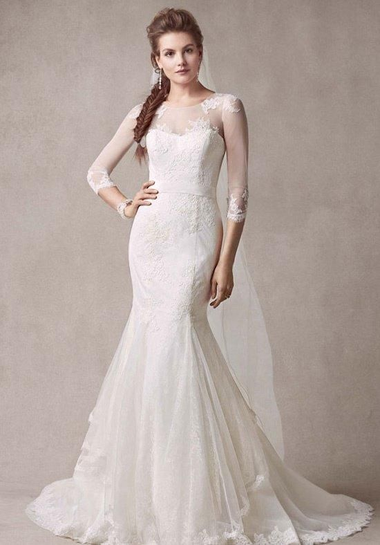 Chantilly Lace Trumpet Gown with Illusion Sleeves | Melissa Sweet for David's Bridal | https://www.theknot.com/fashion/melissa-sweet-for-davids-bridal-style-ms251089-melissa-sweet-for-davids-bridal-wedding-dress