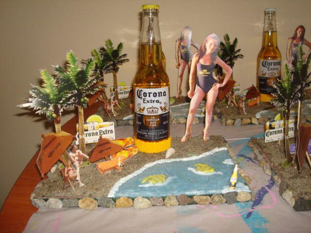 Centro de mesa cerveza corona 60 a os fiestas y mas - Mesa de centro plegable ...