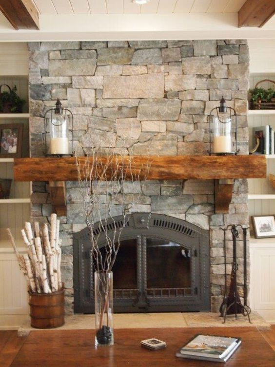 (4) Simply cover an existing fireplace with real thin stone. Natural weather Muskoka ledgerock veneer. We remove the ton from stone. | Pinterest