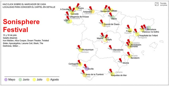 Summer Festivals in Spain [Interactive], by La Informacion (Spain)   Visit our new infographic gallery at visualoop.com/