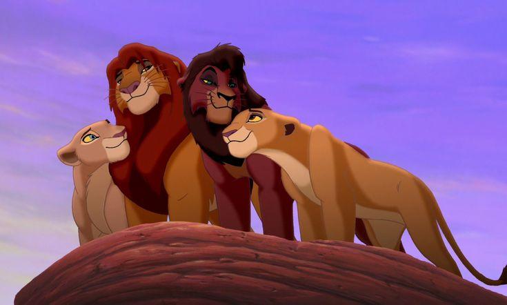 "Queen Nala, King Simba, Kovu, and Kiara from ""The Lion King 2: Simba's Pride"""