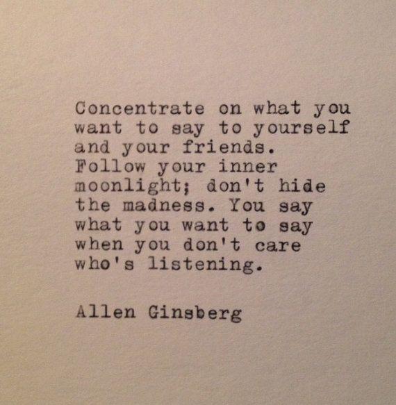 Allen Ginsberg Quote Typed on Typewriter by WhiteCellarDoor