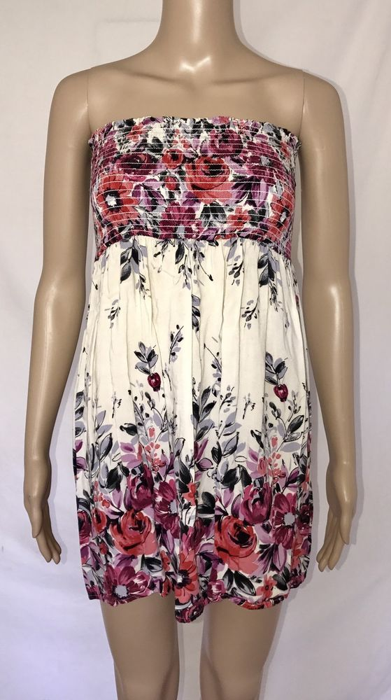 As U Wish Floral Print Beige Women's Top Juniors Dress Sleeveless Size M Medium #AsUWish #KnitTop